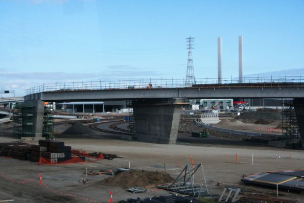 Work on the Dynon Port Rail Link, ramp for Enterprize Road taking shape along with the new tracks under