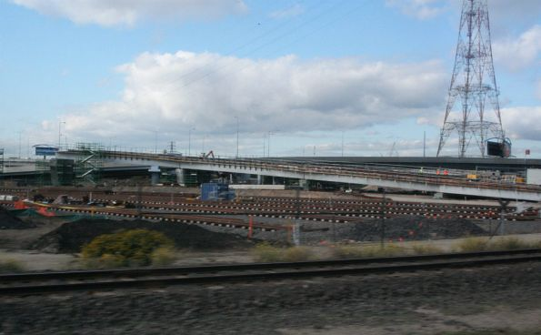 Dynon Port Rail Link works from Enterprize Road, old Swanson Dock line in foreground, new Appleton Dock lines behind, then the new Enterprize Road ramp
