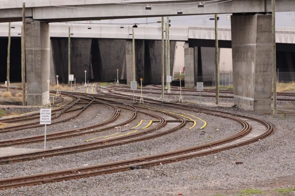 Up end of the Appleton Dock sidings - two tracks under Footscray Road lead to the ladder of sidings, a third track goes to the Westgate Ports sidings