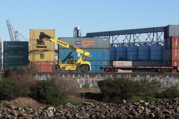 Reach stacker at the Westgate Ports siding