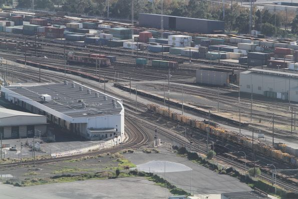 Tracks from the Port of Melbourne arrive at South Dynon
