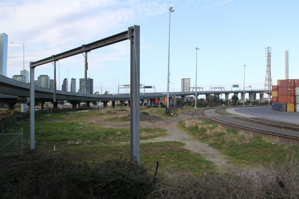Signal gantry at Victoria Dock sidings marks the original tracks into the Port of Melbourne
