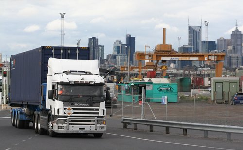 Truck departing the Melbourne Freight Terminal