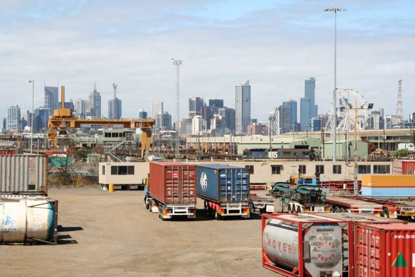 Looking east over container yards towards the Melbourne Freight Terminal, 8115 shunting in there somewhere