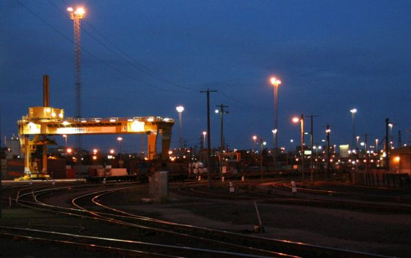 Pacific National's Melbourne Freight Terminal at South Dynon by night
