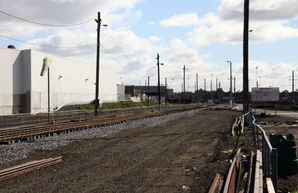 Shaws Siding being converted to SG, looking west towards the wagon repair facility