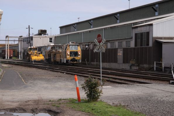 Ballast tamper and regulator alongside the car shed at South Dynon