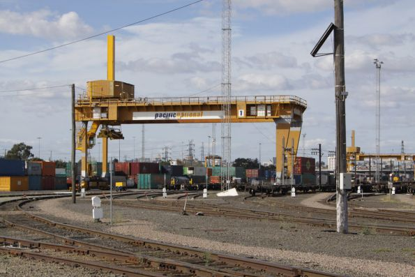 Pair of Malcolm Moore gantry cranes for container handling at the Melbourne Freight Terminal