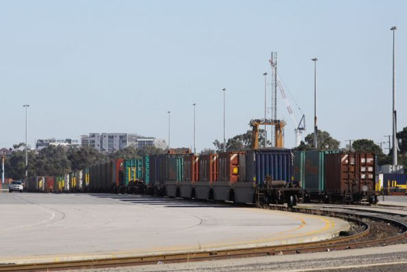 Container wagons at the eastern end of the Melbourne Freight Terminal, South Dynon