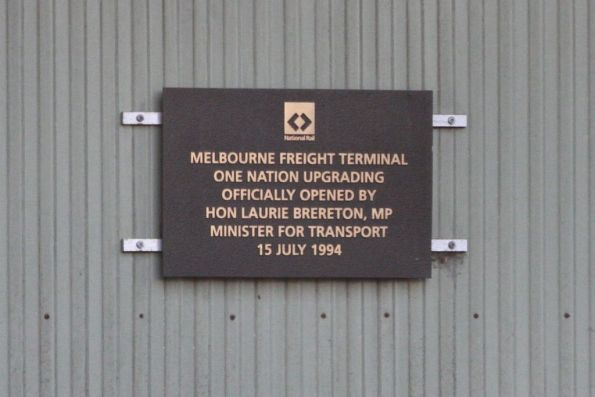 Plaque marking the opening of the upgraded Melbourne Freight Terminal by National Rail on July 15, 1994