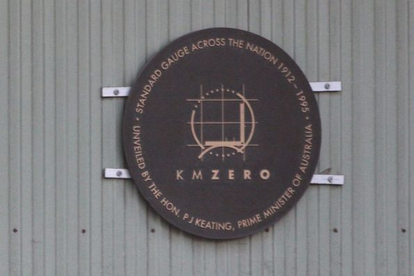 'KM Zero': plaque unveiled by Paul Keating in 1995 to mark the opening of the Melbourne-Adelaide standard gauge link