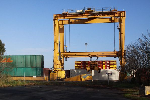 The third of the Melbourne Freight Terminal cranes, 40 tonne 'Transtainer' built by Deer Park Engineering