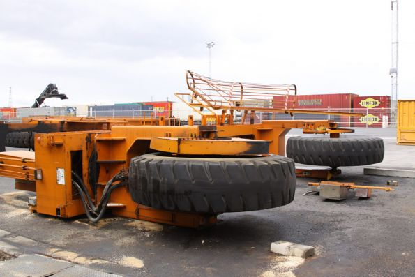 Pair of Mi-Jack 'Travelift' rubber tyred gantry cranes in pieces at the Melbourne Freight Terminal