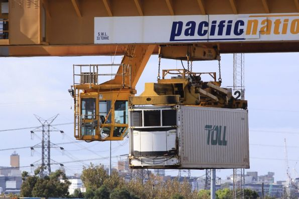 Malcolm Moore gantry crane lifting a 40ft container at the Melbourne Freight Terminal