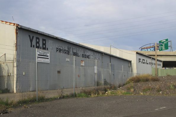Old FCL / 'YBB Private Rail Siding' shed located just off Footscray Road near CityLink