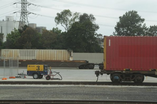 Air compressor wagon parked beside a siding at South Dynon