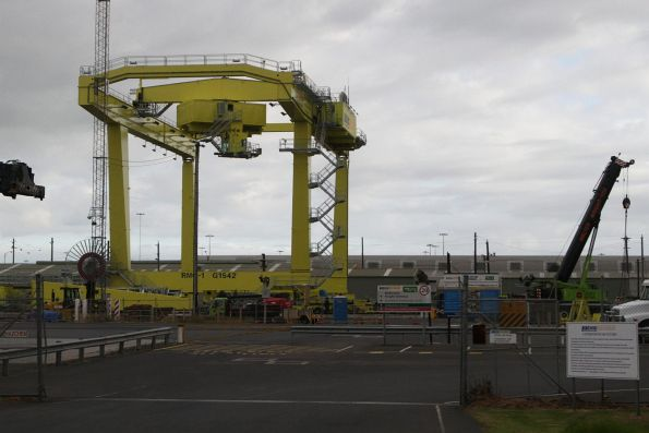 One of two new rail mounted gantry cranes in place at the Pacific National Melbourne Freight Terminal