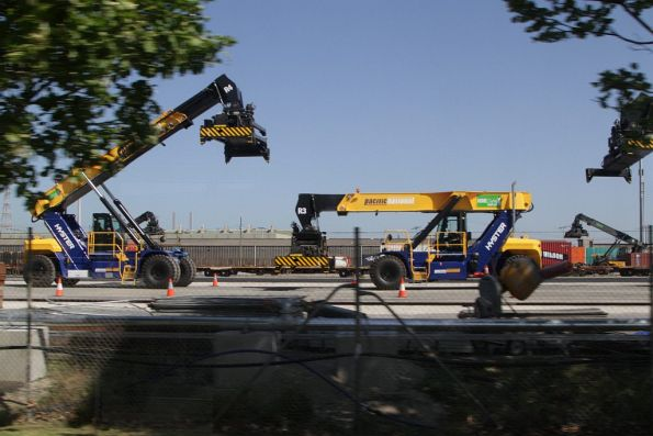 New Hyster reach stackers at the eastern end of the PN Melbourne Freight Terminal