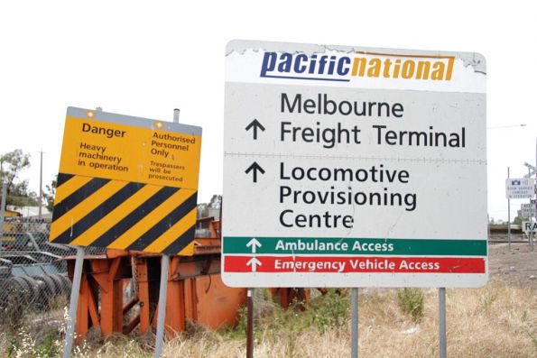 Pacific National and National Rail branded signs at the Melbourne Freight Terminal