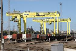 Pair of new rail mounted gantry cranes at the Pacific National Melbourne Freight Terminal at South Dynon