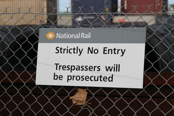 National Rail 'No entry' sign at the Melbourne Freight Terminal