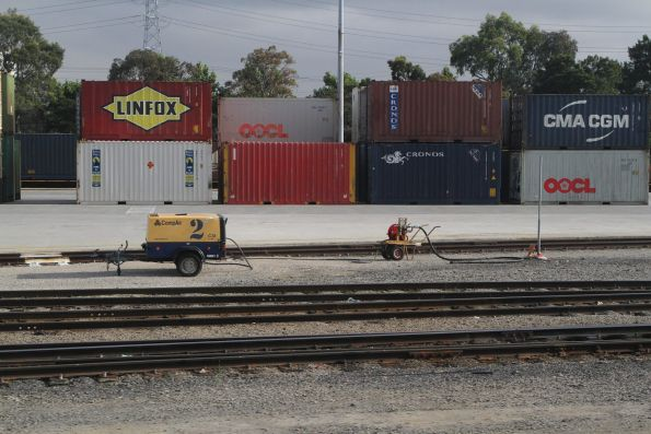 Air compressor for pumping up the wagon brakes at the Melbourne Freight Terminal
