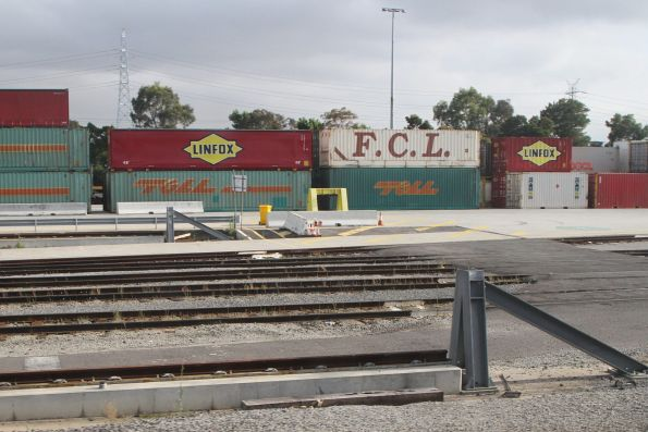 Eastern end of the gantry crane rails at the Melbourne Freight Terminal