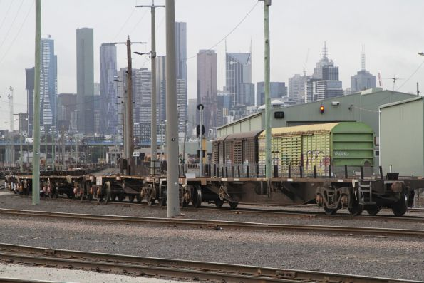 Container wagons at the west end of the yard
