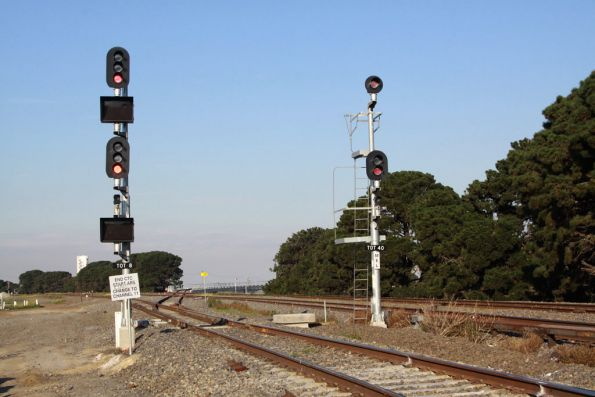 Signals for the new Tottenham Triangle track, the bridge is in the background