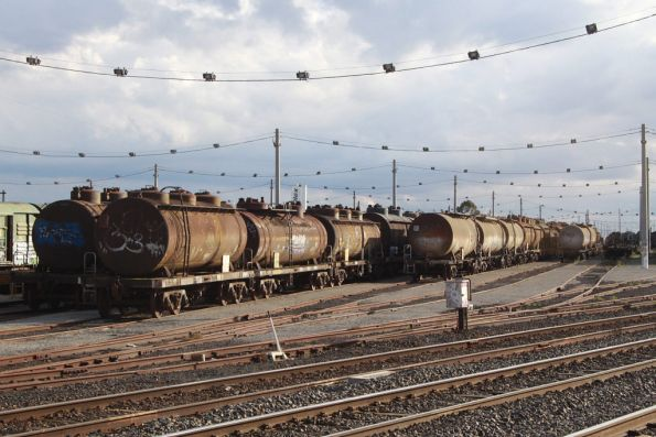 A few rakes of stored tank wagons in the 2nd Classification Tracks pending scrapping