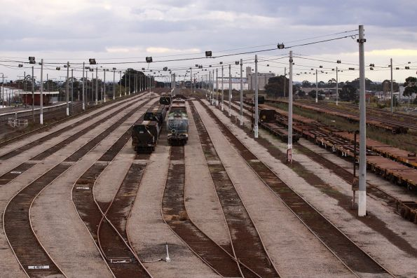 A few rakes of random wagons in the 1st Classification Tracks, looking west towards the Arrival Tracks
