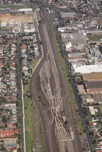 Looking down on Tottenham Yard, West Footscray at the top end