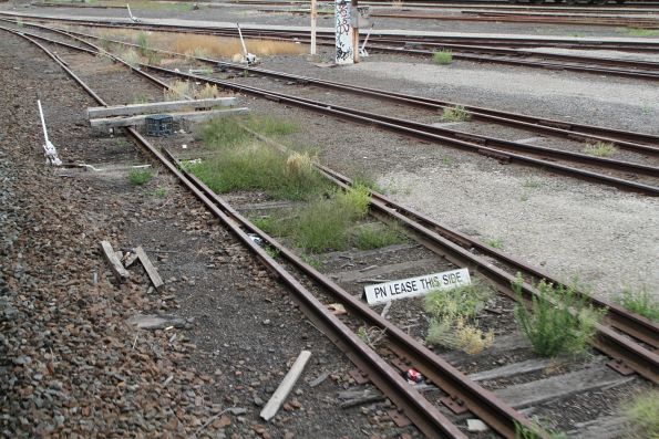 'PN lease this side' sign at the north-east end of the 2nd classification tracks