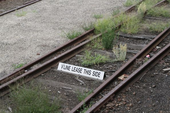 'V/Line lease this side' sign at the north-east end of the 2nd classification tracks