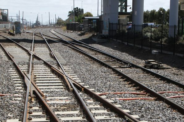 Concrete bearer turnout at the broad/standard gauge split at West Footscray Junction