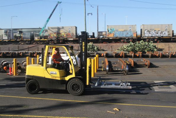 Forklift moves around the Wagon Maintenance Centre
