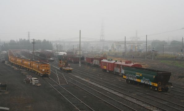 Including a rake of CHOY ballast hoppers, a rake of open spoil wagons, the rail discharge wagon, and a lot of old junk