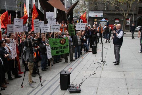 RTBU Tram and Bus Division secretary Phil Altieri addresses the rally outside the Yarra Trams head office