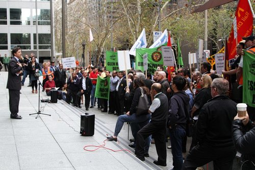 'Shadow Minister for Road Safety and the TAC' Luke Donnellan addresses the RTBU rally outside the Yarra Trams office