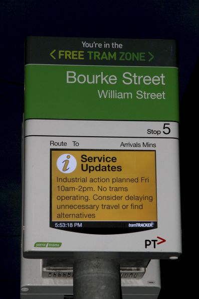 Service update from Yarra Trams regarding the planned industrial action on Friday August 21