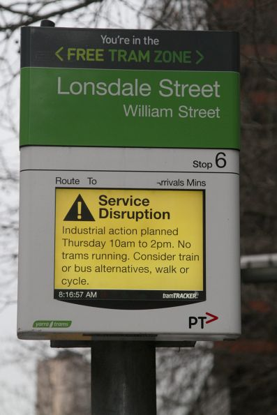 Notice of the upcoming tram strike displayed on the TramTracker PIDS