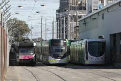 A2.298, E.6009 and C2.5113 among the stabled trams at Southbank Depot
