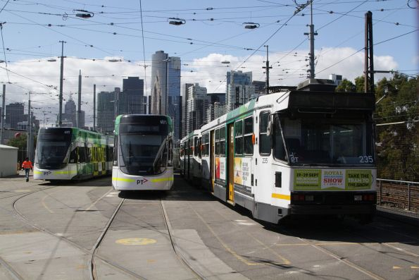 E.6017, E.6011 and A1.235 among the stabled trams at Southbank Depot