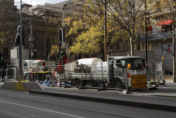 Geotechnical drilling for soil samples on Swanston Street at City Square