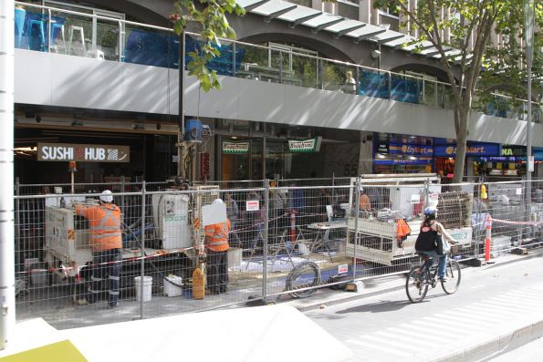 Geotechnical drilling for soil samples at Swanston Street and Flinders Lane