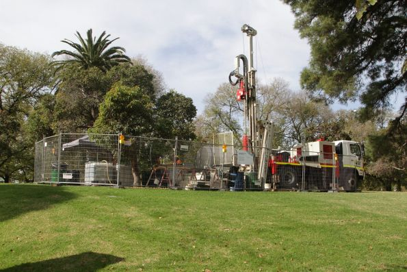 Geotechnical drilling for soil samples in Kings Domain off St Kilda Road