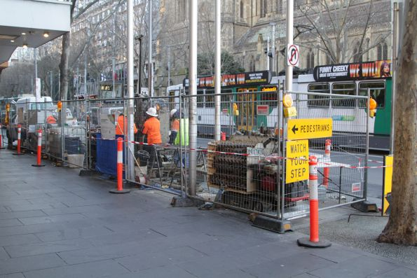 Geotechnical drilling for soil samples at Swanston and Flinders Street