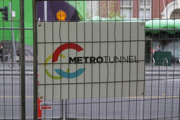'Metro Tunnel' branding on a temporary fence on Swanston Street