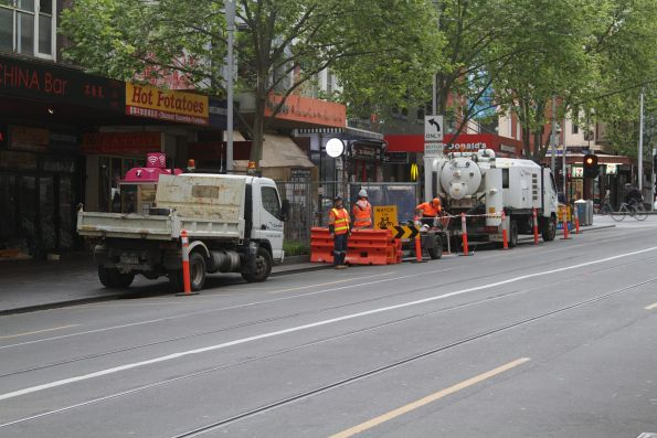 Preparation for soil testing works at Swanston and Lonsdale Street