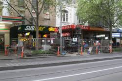 Soil testing works at Swanston and Little Bourke Street